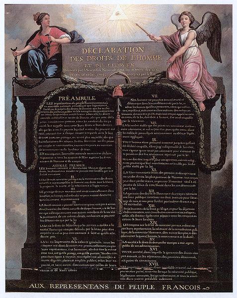 Representación de la Declaración de los Derechos del Hombre y del Ciudadano de 1789