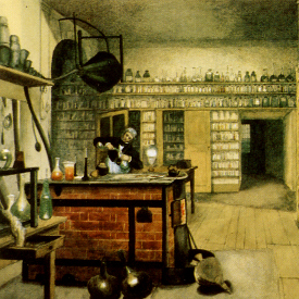 Faraday en su laboratorio. Harriet Moore. Dominio Público.